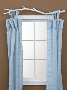 Incorporate elements of nature, such as these DIY branch curtain rods, to add interest to a dull room. Incorporate elements of nature, such as these DIY branch curtain rods, to… Homemade Curtain Rods, Homemade Curtains, Diy Curtains, Blue Curtains, Nursery Curtains, Rustic Curtains, Kitchen Curtains, Layered Curtains, Short Curtains