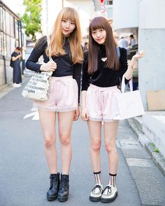 Shiori (@s118t) and Kanami (@kanami_takasaki) on the street in Harajuku wearing matching pink lace shorts from Bubbles Harajuku with tops from E hyphen world gallery and One Spo as well as items from WEGO, American Apparel, and Justin Davis.