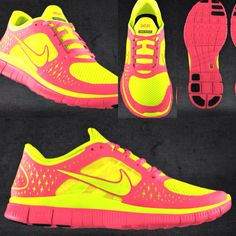 Pink & neon yellow Nike shoes!!