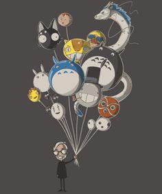 """Miyazaki's Balloons"" by Harantula. Inspired by the films of Hayao Miyazaki — My Neighbor Totoro, Spirited Away, Ponyo, Princess Mononoke, and more. [Sold at QWERTEE] Hayao Miyazaki, Illustrations, Illustration Art, Le Vent Se Leve, Wow Photo, Studio Ghibli Movies, Chibi, Howls Moving Castle, My Neighbor Totoro"