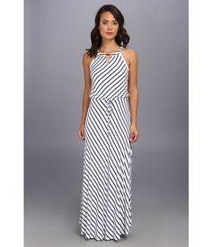 Calvin Klein Calvin Klein  Stripe Keyhle Maxi Dress WhiteRegatta Womens Dress for 77.99 at Im in!