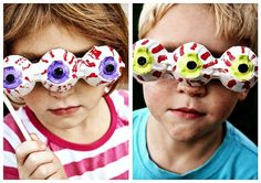 Crafting With Kids: Eyeball Photo Props. Would be a good craft project for the kids for the party