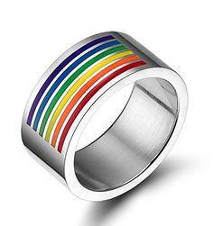 Quubb Gay & Lesbian LGBT Pride 316L Stainless Steel Rainb... https://www.amazon.com/dp/B01HXT3KOS