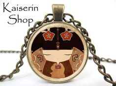 Chinese Doll Necklace Asian Neckkace Pendant Charm by KaiserinShop