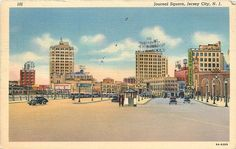 Journal Square Jersey City Loews Theatre Autos Linen Vintage Postcard Near Mint Jersey City, New Jersey, Great Places, Places Ive Been, Garden State Plaza, Those Were The Days, Vintage Postcards, Big Ben, New York Skyline