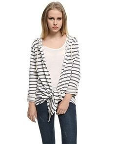 Game Of Love Womens Casual Irregular Knitted Long Sleeve Stripe Cardigan SweaterBlack White StripeMedium -- Learn more by visiting the image link.(This is an Amazon affiliate link)