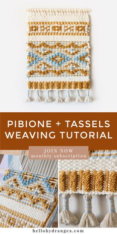 May's Weaving Project: Pibione + Tassels can find Weaving and more on our website.May's Weaving Project: Pibione + Tassels Weaving Wall Hanging, Weaving Art, Weaving Patterns, Weaving Textiles, Tapestry Weaving, Loom Weaving, Hand Weaving, Knitting Patterns, Knitting Tutorials
