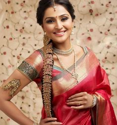 South Indian bride Beautiful saree and jewelry/armlet