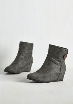 What's Inside That Counts Bootie in Charcoal. Indulge your inner cutie with these vegan faux-suede booties! #grey #modcloth