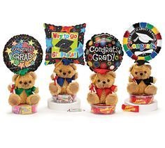 "#burtonandburton Graduation Gift Plush Assortment.Acrylic container, plush, 9"" air-filled balloon,   pre-wrapped branded candy.Set of 6."