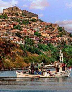 Beautiful Molyvos Greece Islands, Corfu, Greece Travel, Countries Of The World, Vacation Spots, Beautiful World, Places To See, Scenery, Castle