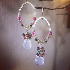 Here's a picture of another pretty custom order. Remember everything is off thru tomorrow and make sure you remember to enter my giveaway ❤️❤️ Gemstone Earrings, Beaded Earrings, Beaded Jewelry, Fall Jewelry, Charm Jewelry, Handmade Necklaces, Handmade Jewelry, Swarovski Crystal Earrings, Designer Earrings