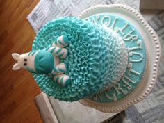 Boy shower cake. Like the ombré. Would be without the animal replace with a bow, in grey yellow and white