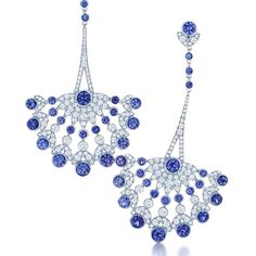 Tiffany's Earrings in platinum with Montana sapphires and diamonds.