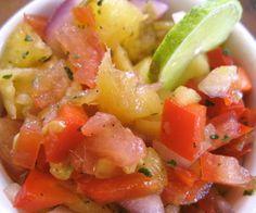 Pineapple mango salsa.Serve this fruity appetizer with tostadas ot tortilla chips.
