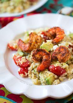 Spicy Grilled Shrimp with Quinoa Salad | tablefortwoblog.com