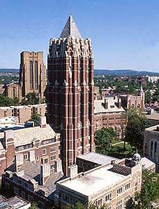 Yale University the Graduate school tower with gym in background