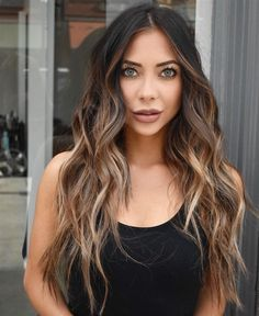 Balayage hair is suitable for light and dark hair, almost all lengths except very short haircuts. Today I want to show you the most gorgeous balayage hair dark color ideas. Balayage has become the biggest trend in recent seasons, and it's not over Brown Hair Shades, Brown Ombre Hair, Brown Hair Balayage, Brown Blonde Hair, Balayage Brunette, Ombre Hair Color, Light Brown Hair, Brown Hair Colors, Hair Colour