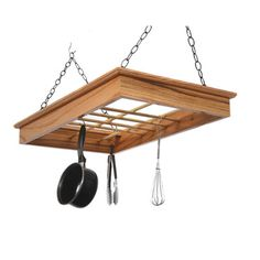 Laurel Highlands Woodshop Hanging Pot and Pan Rack.  Could be painted white to match cabinets.