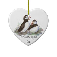 Custom Dated First Christmas Together Puffins Bird Christmas Tree Ornament