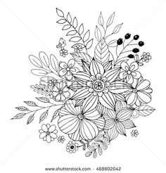 Floral flower drawing black and white illustration line flower doodle vector coloring page with doodle flowers vector mightylinksfo