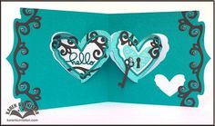 "Karen Burniston using the Pop it Ups Heart Pivot Card, Agatha Edges, ""hello"" and Damask Embossing Folder by Karen Burniston for Elizabeth Craft Designs."