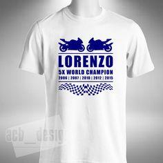Jorge Lorenzo T Shirt Mens 2015 5x World Champion MotoGP Yamaha Motorbike Bike