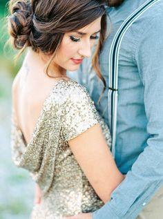 Cowl back gold sequin engagement dress: http://www.stylemepretty.com/2015/11/23/romantic-high-school-sweethearts-riverside-engagement/   Photography: Alexandra Grace - http://alexgracephotography.com/