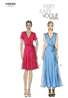 Buy the dress sewing pattern from Vogue® Patterns. This wrap dress has a close-fitting, bias bodice, tie ends and a flared skirt. Vogue Dress Patterns, Summer Dress Patterns, Vogue Sewing Patterns, Clothing Patterns, Wrap Dress Patterns, Apron Patterns, Pattern Sewing, Mccalls Dress Patterns, New Look Dress Patterns