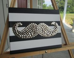 mustache thumb tack art