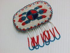 NATIVE AMERICAN BEADED HAIR BARRETTE,FEATHERS, METAL CLASP,LEATHER BACK, FRINGES