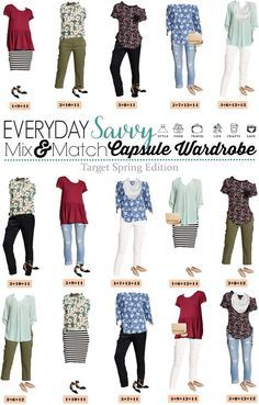 Early Spring Outfits - Target Spring Capsule Wardrobe - Everyday Savvy Fun Spring Target Capsule Wardrobe updated for Casual and cute mix and match outfits that are fun and frugal. Early Spring Outfits, Cute Spring Outfits, Cute Outfits, Outfit Primavera, Capsule Wardrobe Mom, Travel Wardrobe, Wardrobe Ideas, Mix Match Outfits, Matching Outfits