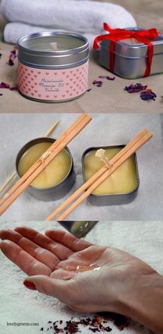 How to make massage oil candles. The liquid oil in these candles is warm (not hot) and can be used as a fragrant and moisturizing massage oil. Great as gifts for valentines day, anniversaries, wedding favors, or anytime you need a little extra romance in your life.