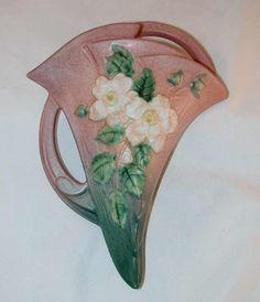 Roseville Pottery 1940s White Rose Pattern Pink Wall Pocket