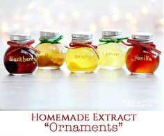 """I love this simple and unique Christmas gift idea that is on the blog today! Make your own extracts and bottle them in cute round """"ornament"""" jars for your friends and family!"""