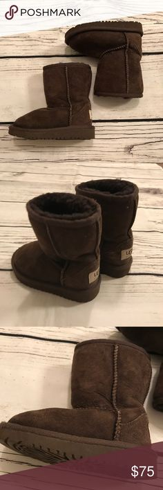 UGG Kids Chocolate Brown Short Boots Size 7 Excellent condition. Only wear is on front of boots (shown) other than that they are in great condition. Fur is still very fluffy UGG Shoes Boots