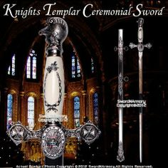 "Freemasonry Knights Templar Masonic Ceremonial Sword Silver Regalia 27 "" Blade by eTrading. $79.98. This is the Knights Templar Masonic Ceremonial Sword Silver Regalia 27"" Blade. This is the finest Knights Templar sword you will find in this price range. From the beautifully enameled crosses to each intricately crafted fitting, every aspect of the sword has been perfectly executed."