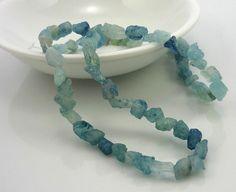Rough aquamarine nugget beads 58mm 1/4 strand by LushRocks on Etsy, $5.95