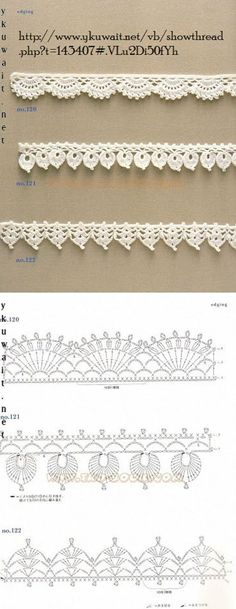 """diy_crafts-Crochet Lace Edging More by coleen """"Crochet Patterns Lace Crochet Lace Edging More Mehr"""", """"like about 3 inches wider"""", """"Handkerc Crochet Boarders, Crochet Edging Patterns, Crochet Lace Edging, Crochet Motifs, Crochet Diagram, Crochet Chart, Crochet Designs, Crochet Flowers, Crochet Stitches"""