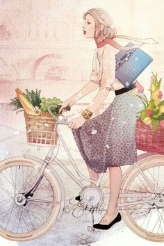 Kai Fine Art is an art website, shows painting and illustration works all over the world. Illustration Française, Bicycle Illustration, Art Magique, Bicycle Art, Inspiration Art, Illustrations Posters, Illustrators, Decoupage, Cool Art