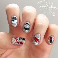 Ideas for nails art stiletto manicures Glitter Nails, Gel Nails, Nail Polish, Trendy Nail Art, Cool Nail Art, Evil Eye Nails, Chameleon Nails, Nail Time, Nail Art Kit
