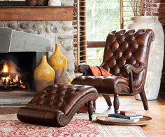 This leather chair and ottoman has great shape.