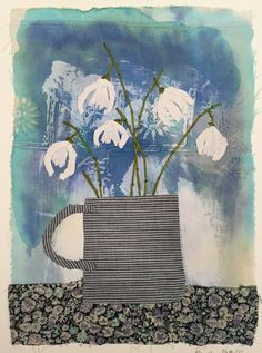 Snowdrops in blue mug..Hand Appliqued and Embroidered Textile Collage