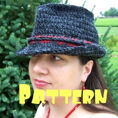 Pattern trilby fedora crochet wool by KnotworkShop on Etsy https://www.etsy.com/listing/52846115/pattern-trilby-fedora-crochet-wool