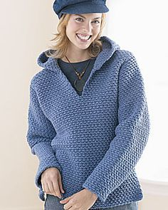 Crochet Hooded Sweatshirt - Free crochet pattern by Bernat Design Studio. Sizes XS/S, M, L, XL, 2/3XL, 4/5XL. Chunky yarn, 6mm hook.