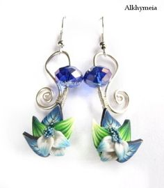 wire wrap earrings with polymer clay & beads