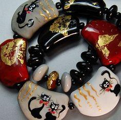 Trizas Original Handmade Glass Lampwork Bead Cats Holiday TOS0004 SRA | eBay