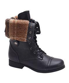 Look at this #zulilyfind! Black Freda Fold-Over Boot #zulilyfinds