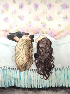 Best friends art - sisters art - watercolor painting print в Best Friend Drawings, Bff Drawings, Best Friend Wallpaper, Painting Prints, Art Prints, Floral Paintings, Painting Abstract, Ink Painting, Sisters Art