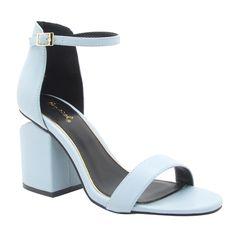 Qupid FF71 Women's Single Band Ankle Strap Slit Chunky Block-heel Sandals